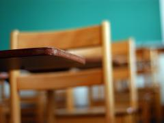 schoolroom desks and chairs