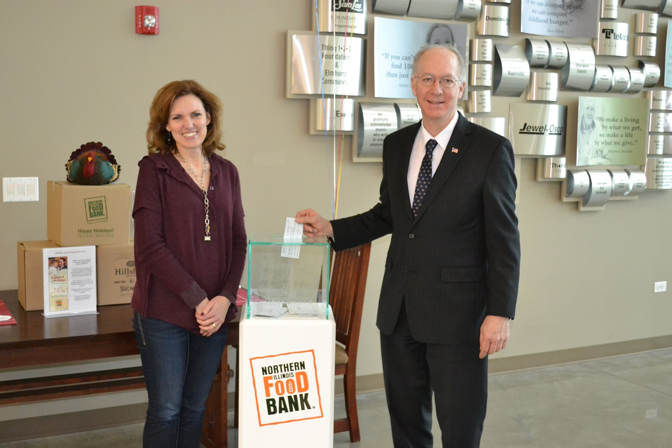 Julie Yurko, Vice President of Philanthropy, Northern Illinois Food Bank and Congressman Bill Foster
